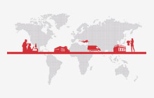 Globe with the retail supply chain graphic