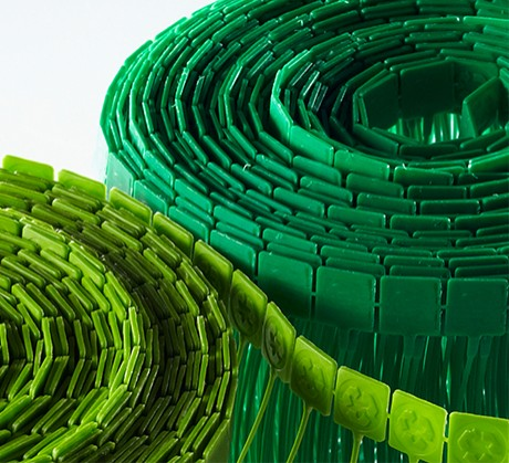 Close-up of recycled fasteners made from plastic beverage bottles
