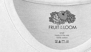 Fruit of the Loom heat transfer label