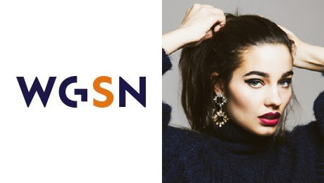 WGSN logo and fashion head shot of a young woman